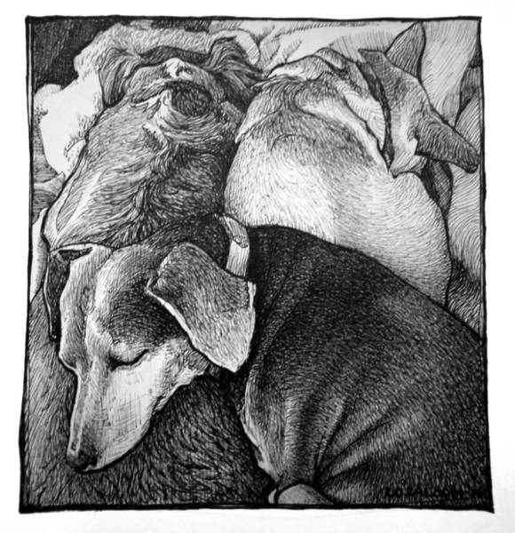 Snuggle Painting - Three Dog Night by Lorraine Zaloom