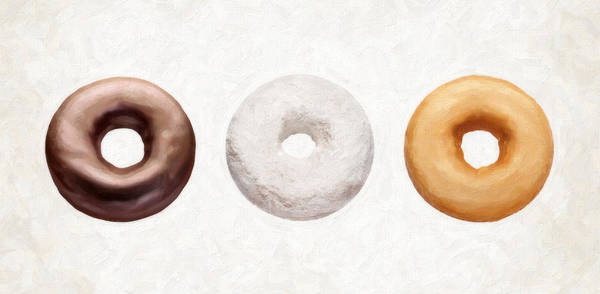 Icing Painting - Three Donuts  by Danny Smythe