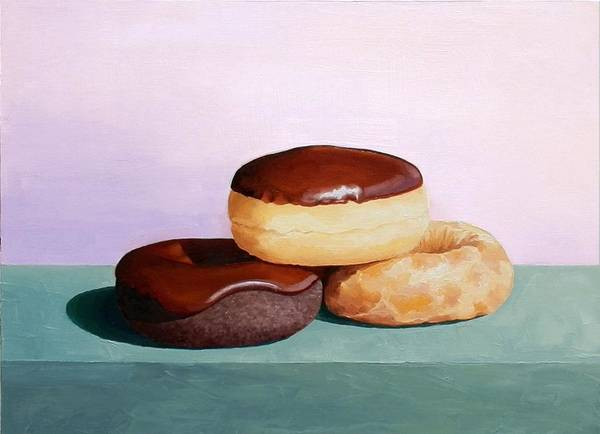 Doughnut Painting - Three Donuts by Josephine Czech