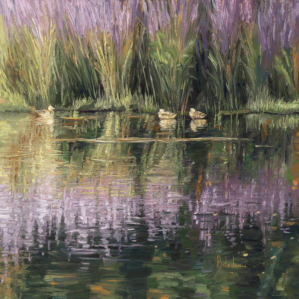 Painting - Three Ducks In A Pond by Lucie Bilodeau