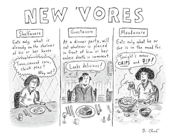 3 Drawing - Three Eaters In Three Panels: The Shelfavore by Roz Chast
