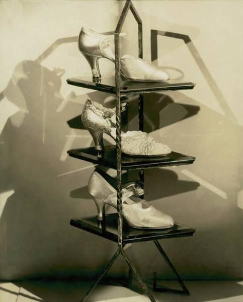 Scallop Photograph - Three Evening Pumps On Display by Edward Steichen