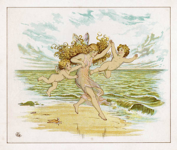 Folklore Drawing - Three Fairies With Very Tiny  Wings by Mary Evans Picture Library