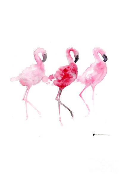 Flamingo Watercolor Painting - Three Flamingos Art Print Watercolor Painting by Joanna Szmerdt