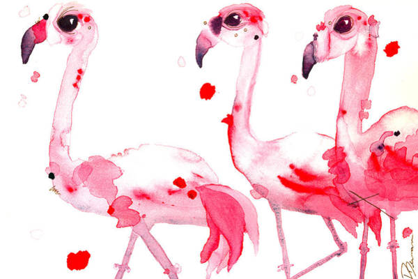 Painting - Three Flamingos by Dawn Derman