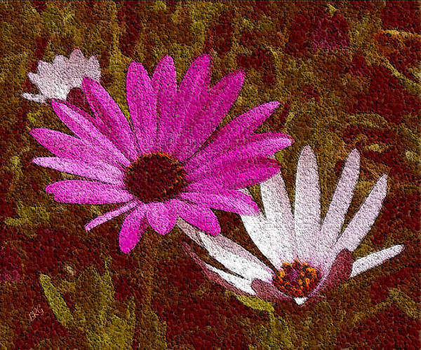 Photograph - Three Flowers On Maroon by Ben and Raisa Gertsberg