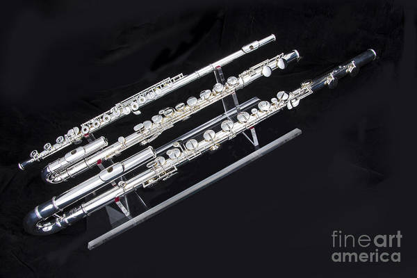 Photograph - Three Flute Music Instruments Photograph In Color  3440.02 by M K Miller