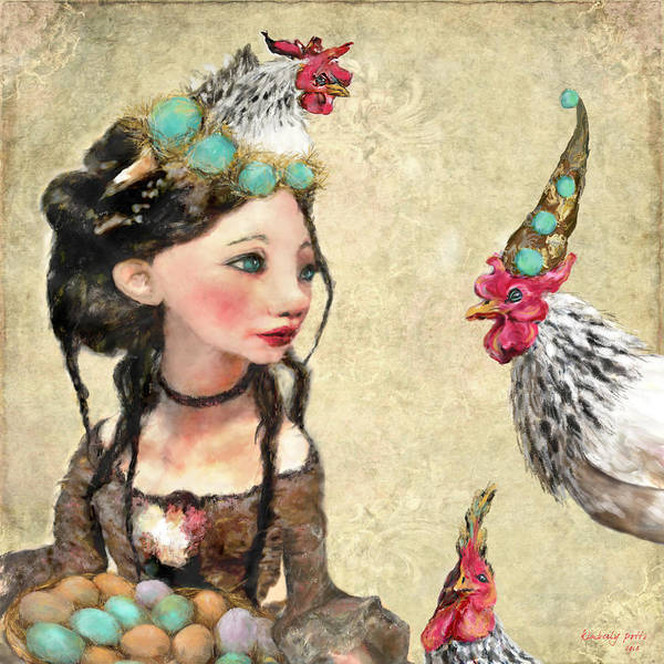True Love Wall Art - Painting - Three French Hens by Kimberly Potts
