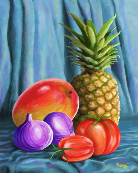 Red Onion Painting - Three Fruits And A Vegetable by Anthony Mwangi
