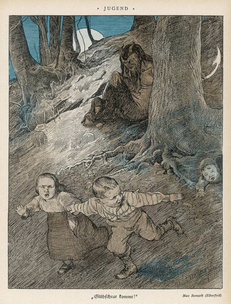 Folklore Drawing - Three German Children  Encounter by Mary Evans Picture Library