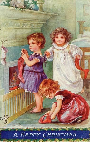 Wall Art - Drawing - Three Girls Take Off Their  Stockings by Mary Evans Picture Library