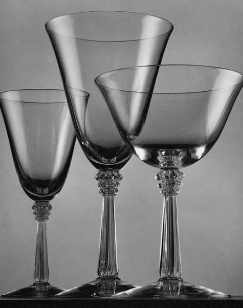 Wine Glasses Photograph - Three Glasses By Fostoria by Peter Nyholm
