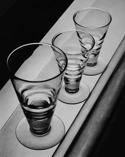 Table Setting Photograph - Three Glasses On A Shelf by Martin Bruehl