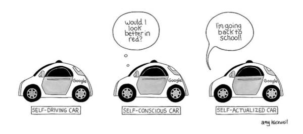 Self Image Drawing - Three Google Cars by Amy Kurzweil