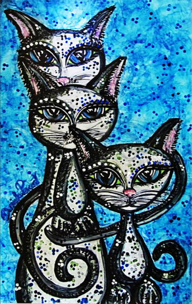 Alcohol Ink Photograph - Three Grey Cats-alcohol Inks by Danielle  Parent