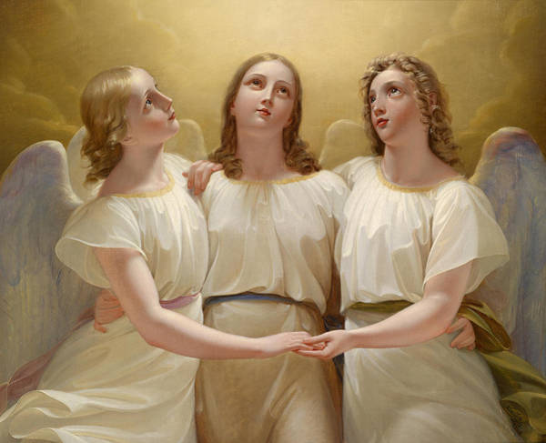 Mythology Painting - Three Guardian Angel by Franz Kadlik