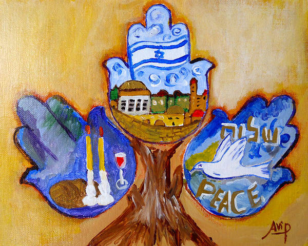 Avi Painting - Three Hamsa by Avishai Avi     Peretz
