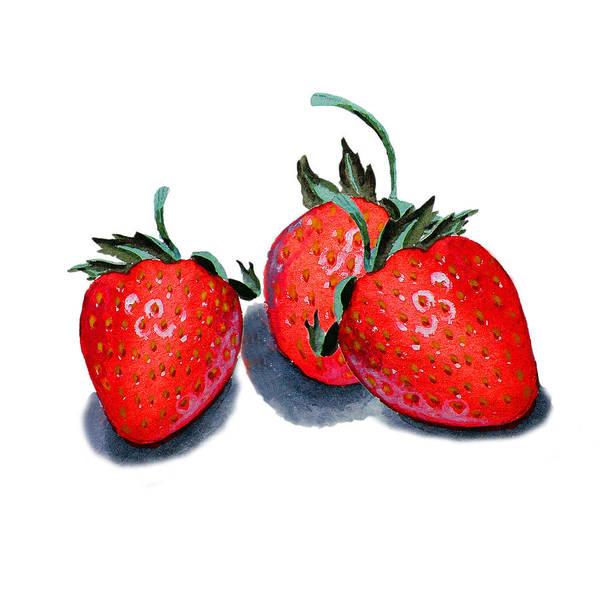 Wall Art - Painting - Three Happy Strawberries  by Irina Sztukowski