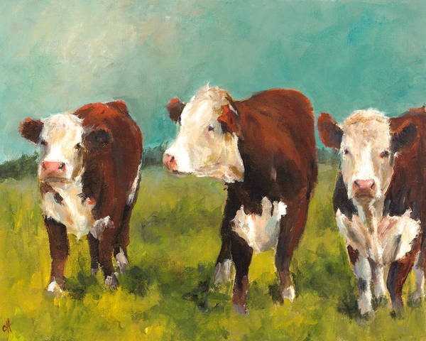 Wall Art - Painting - Three Herefords by Cari Humphry