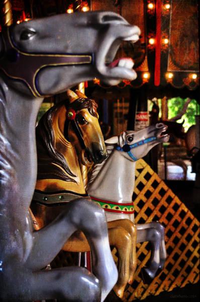 Carousel Digital Art - Three Horses Carousel by Cat Whipple