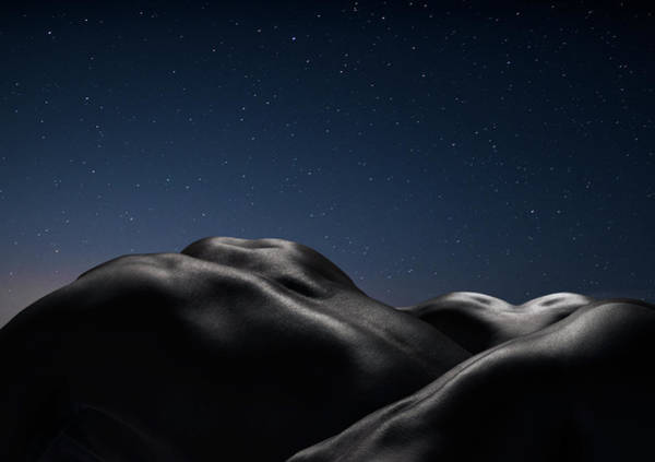 Naked Photograph - Three Human Naked Bodies Against Starry by Jonathan Knowles