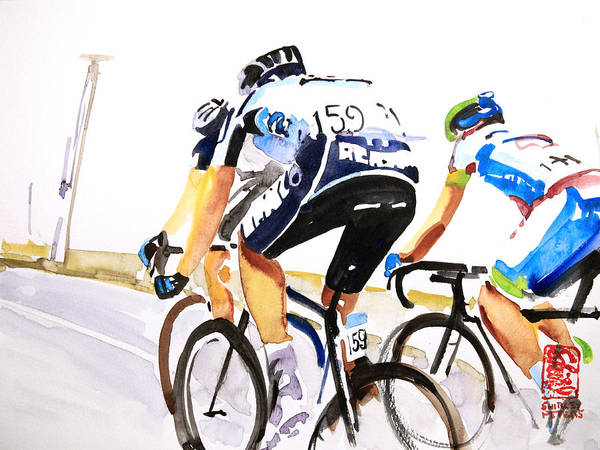 Le Tour De France Wall Art - Painting - Three In Front by Shirley  Peters