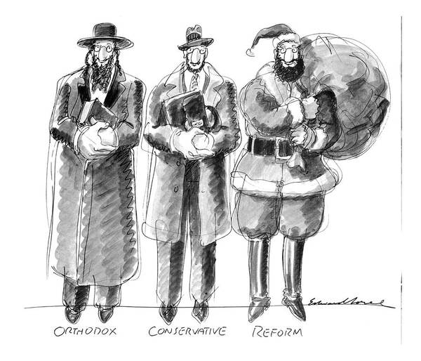Christmas Drawing - Three Jews Are Standing In A Line by Edward Sorel