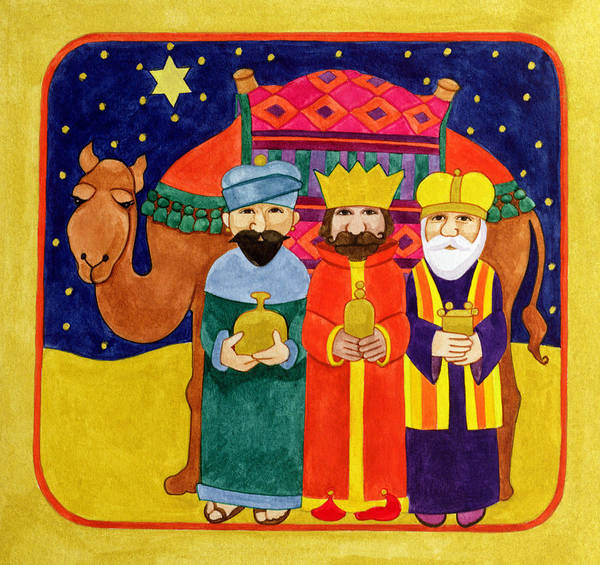 Dromedary Wall Art - Painting - Three Kings And Camel by Linda Benton