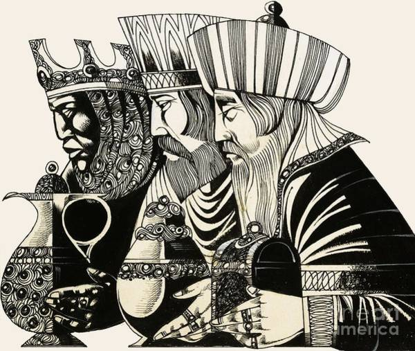 Holiday Drawing - Three Kings by Richard Hook