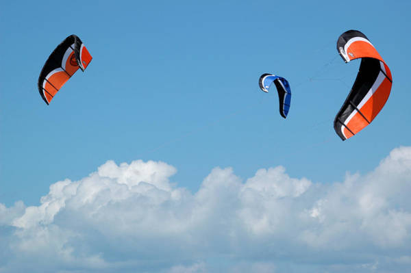 Photograph - Three Kite Boarding Kites At The 2007 Barmouth Kite Festival by Rob Huntley