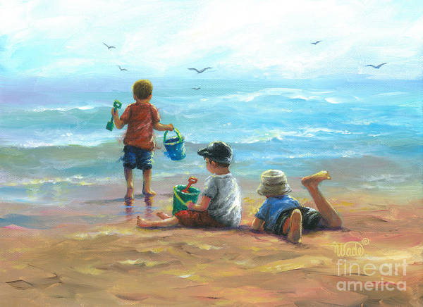 Wall Art - Painting - Three Little Beach Boys I by Vickie Wade