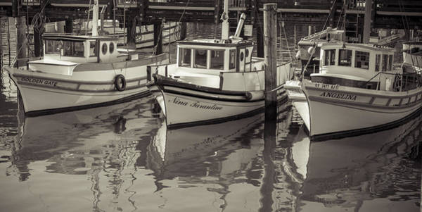 Photograph - Three Little Boats Sepia by Scott Campbell