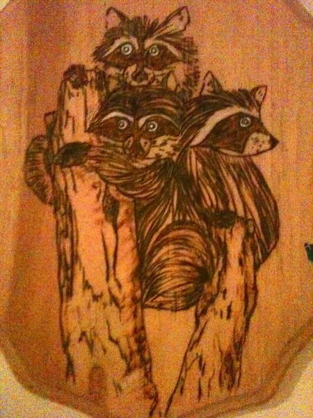 Pyrography - Three Little Rascals by Denise Tomasura