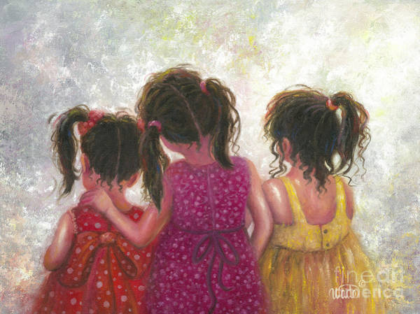 Wall Art - Painting - Three Little Sweet Pea Sisters by Vickie Wade