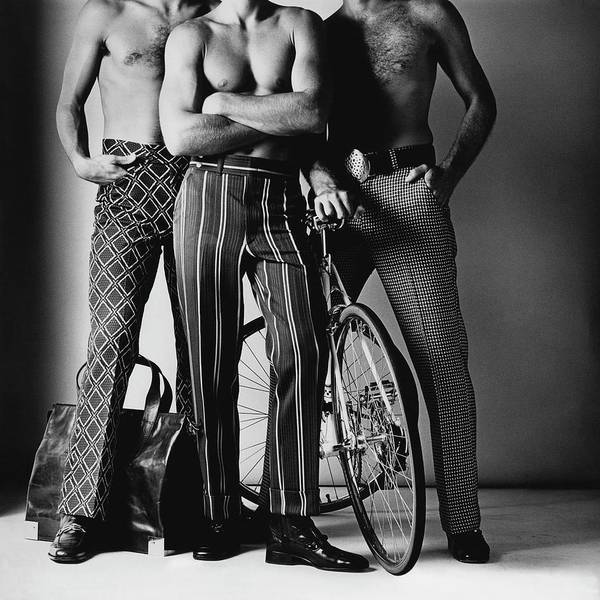 November 1st Photograph - Three Male Models Wearing Patterned Trousers by Ken Haak