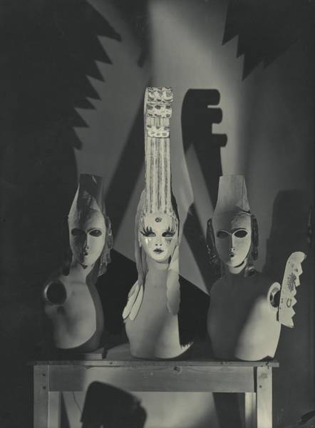 Comte Wall Art - Photograph - Three Masks Designed By Oliver Messel by George Hoyningen-Huene
