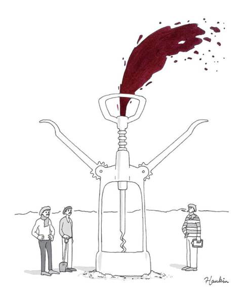 Wine Drawing - Three Men In Berets Drill Into The Ground by Charlie Hankin