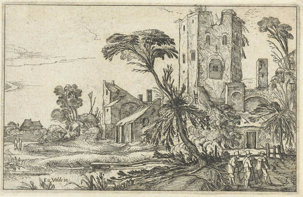 Crumble Drawing - Three Men On A Path Along A Crumbling Tower by Visscher Ii