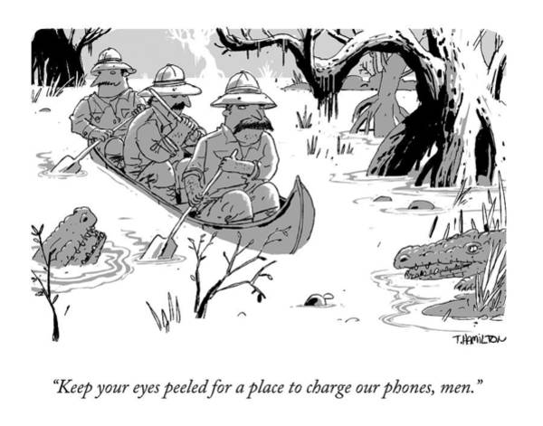 Charge Wall Art - Drawing - Three Men On Safari Paddle Down An Alligator by Tim Hamilton
