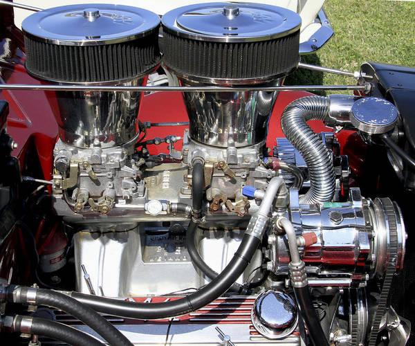 Photograph - Dual Carb Chromed Engine by Bob Slitzan