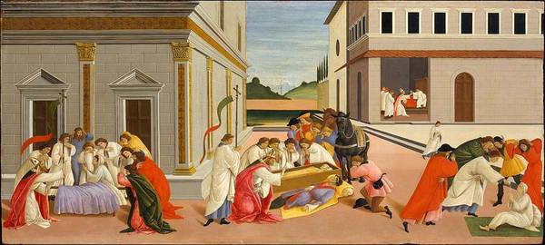 Botticelli Wall Art - Painting - Three Miracles Of Saint Zenobius by Botticelli