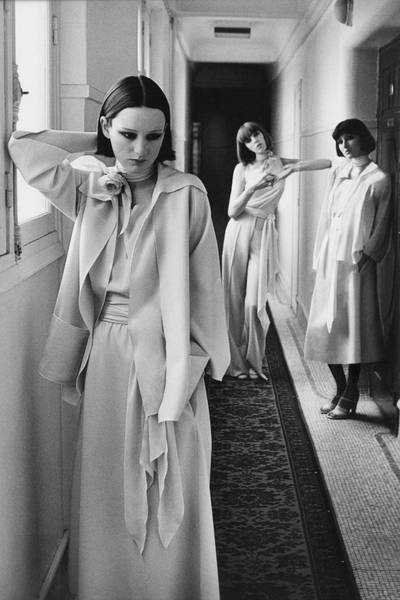 January 1st Photograph - Three Models In A Hallway Inside Hotel Lutetia by Deborah Turbeville