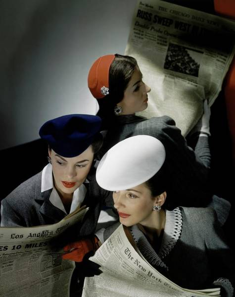 Glamour Photograph - Three Models Wearing Assorted Hats by Horst P. Horst