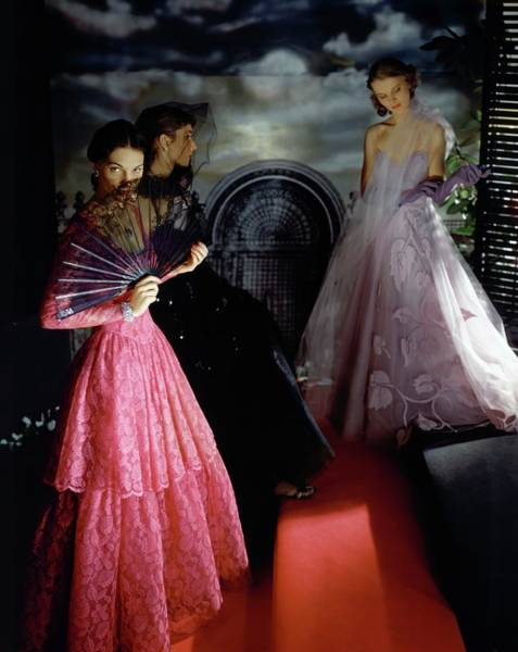 1942 Photograph - Three Models Wearing Ball Gowns by Horst P. Horst