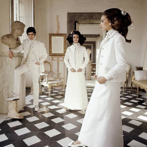 Home Photograph - Three Models Wearing Clothing By Valentino by Henry Clarke
