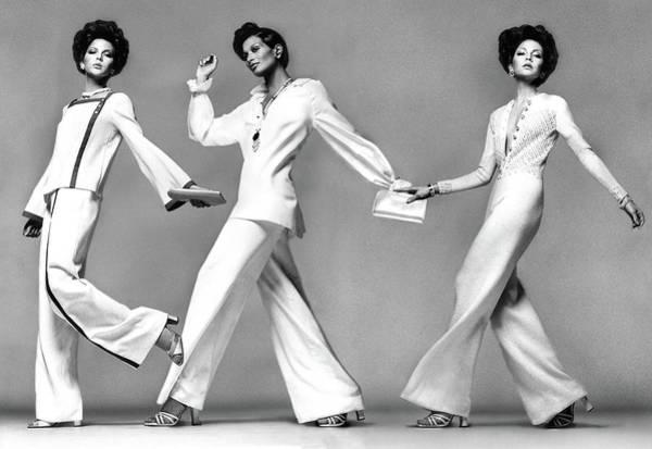 Pajamas Photograph - Three Models Wearing Evening Pajamas by Francesco Scavullo