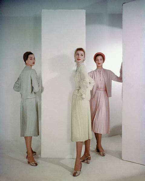 Photograph - Three Models Wearing Pastel Dresses by Horst P. Horst