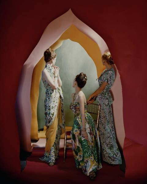 Jewelry Photograph - Three Models Wearing Patterned Dresses by Cecil Beaton