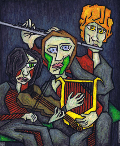 Jewish Music Wall Art - Painting - Three Musicians by Kamil Swiatek