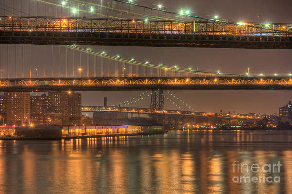 Photograph - Three New York Bridges by Clarence Holmes